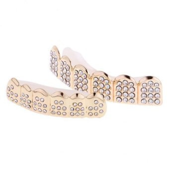 Harga MagiDeal 1Pair Crystal Gold Mouth Caps Teeth Grillz Bottom