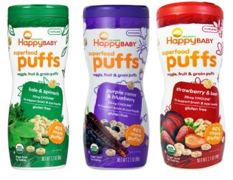 Harga Happy Baby Puffs Bundle of Kale and Spinach, Purple Carrot and Blueberry, Strawberry and Beet