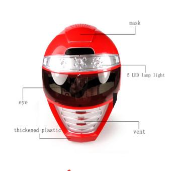 Harga LED Mask Light up Power Rangers Mask Unique Kids Dress up Role Play Cosplay Costume Pretend Play Power Rangers Red Power Ranger Universal Size - intl