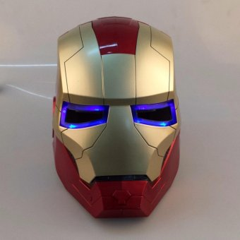 Harga IRON MAN iron man Helmet Mask can open eyes can shine CHAMPAGNE / gold optional - intl