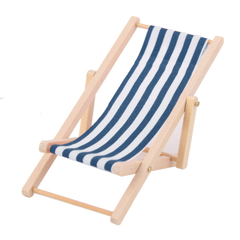 Harga Wooden Lounge Chair Blue White Stripe for Miniature Furniture