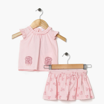 Hush Hush Girls Roses Butterfly Sleeves Top And Skirt Set (Pink) Price Philippines