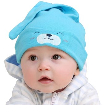 Cotton Elastic Babies Hat Animal Print Sharp Corner GRAY Price Philippines