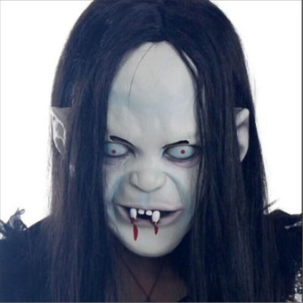 Harga Scary Long Hair Halloween Masks Ghost Full Face Mask for Adult!