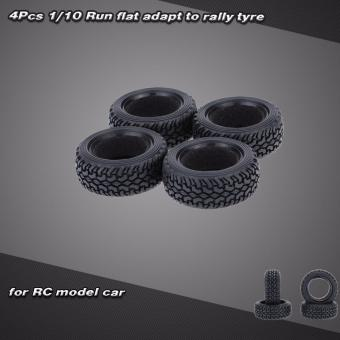Harga 4Pcs/Set 1/10 Grain Run Flat Rally Car Tyre for Tra x x as HSP Tamiya HPI Kyosho RC Rally Model Car (Black)