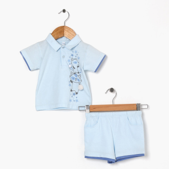 Hush Hush Boys Cool Racoon Polo Shirt And Shorts Set (Blue) Price Philippines