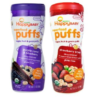 Harga Happy Baby Puffs Bundle of Purple Carrot and Blueberry, Strawberry and Beet