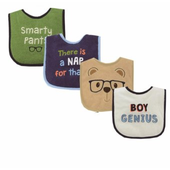 Harga Luvable Friends 4 Piece Drooler Bib Boy Genius