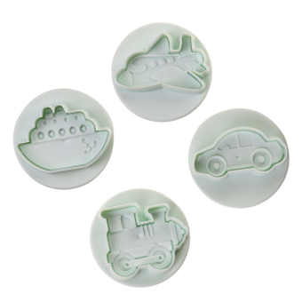 Harga MagiDeal 4pcs Cute Transportation Vehicles Shape Cookie Cutter Fondant Plunger Decorating Mold 5.5cm