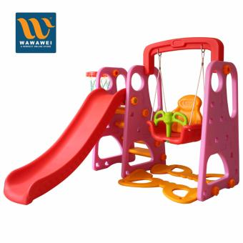 High Quality Children Playground Foldable Plastic Indoor/Outdoor Kids Slide Swing with Basketball Hoop Set No.3004 (Pink) Price Philippines