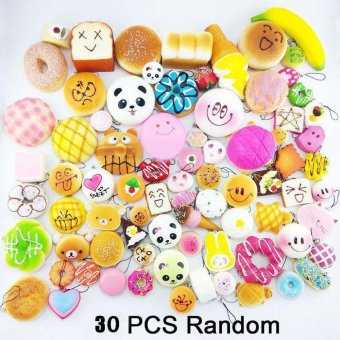 30Pcs Jumbo Medium Mini Random Squishy Soft Panda/Bread/Cake/Buns Phone Straps Multicolor - intl Price Philippines