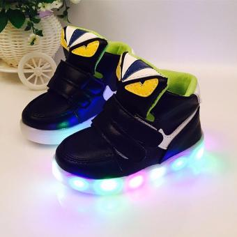 Harga The boys and girls High top Monster shoes LED lighting light sport shoes children baby shoes - intl