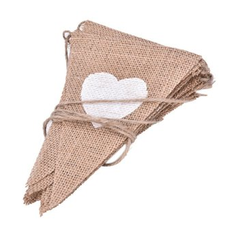 Banner Jute Linen Flag Rustic Burlap Bunting Chic Wedding Decoration Event Party 3.02m - intl Price Philippines