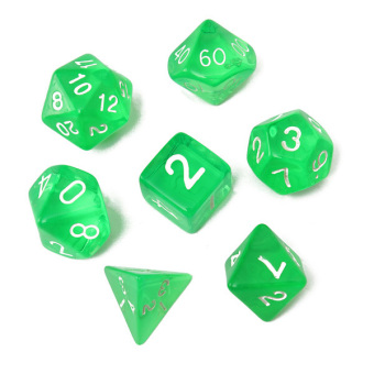Harga 7-Dice Sided D4 D6 D8 D10 D12 D20 Magic-the-Gathering MTG D&D RPG Poly Game Set Green