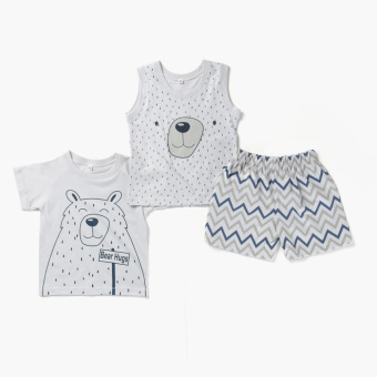 Nap Boys Bear Tee, Muscle Tee And Shorts Set (Gray) Price Philippines