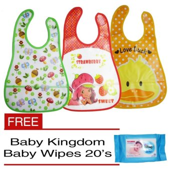 Baby Kids Towel Waterproof Lunch Bibs Set of 3 with Free Baby Wipes 20's Price Philippines