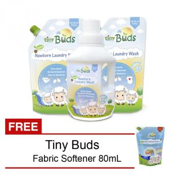 Harga Tiny Buds Newborn Laundry Wash Bottle and 2 Refills with Free Fab Softener 80ml