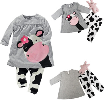 BEINGQ 2Pcs Baby Kids Girls Boys Milk Cow Long Sleeve Tops plus Pants Outfits Sleepwear Price Philippines