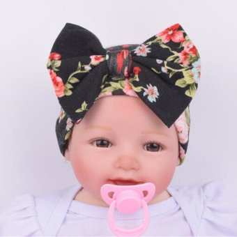 Cartoon Infant Cotton Baby Hat Big Bow Cap (Black) Price Philippines