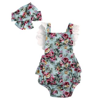 Harga Baby Girl Summer Lace Romper Foral Printed Backless Jumpsuit + Headband - intl