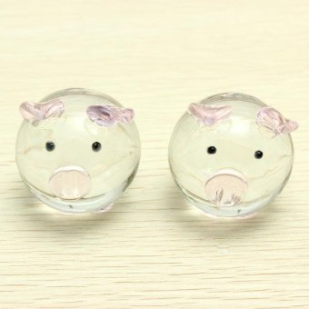 Crystal Glass Couple Pig Cute Pig Ornament Lovers Lucky Pig Gifts - intl Price Philippines
