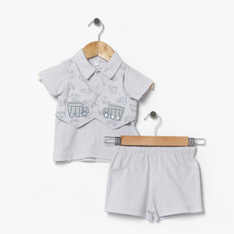 Hush Hush Boys Vehicles Faux-Vest Polo Shirt And Shorts Set (Gray) Price Philippines