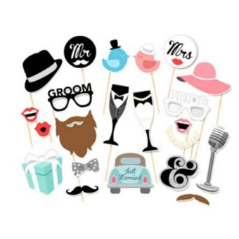 Harga 22pcs Bride Groom Wedding Party Shooting Funny Props - intl