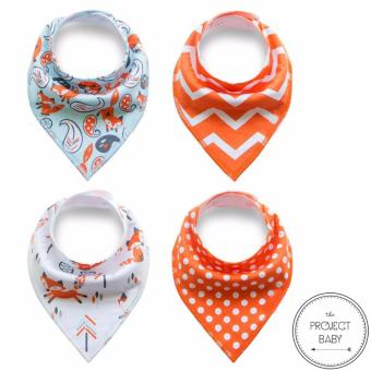 4 sets / lot Bandana Bibs 100% cotton fashion for babies unisex saliva burp towel (fox) Price Philippines
