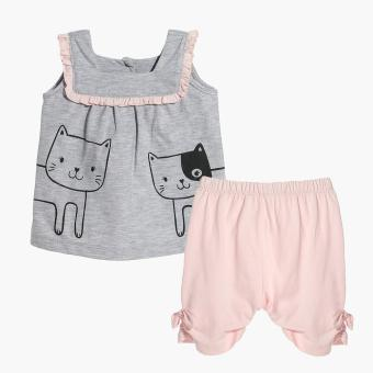 Hush Hush Girls Cat Friends Top and Capri Set (Gray) Price Philippines