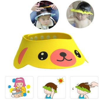 PVC Adjustable Soft Baby Shower Cap Baby Care Bath Protection Children Hat Shower Cap Adjustable - intl Price Philippines
