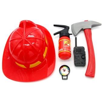 ZigZagZong Red Fireman Pretend & Play 5Pces Toys Set Fire Hat Safe Plastic Educational toy Red - intl Price Philippines