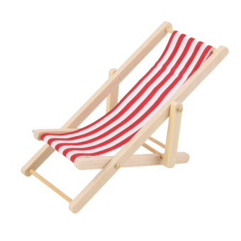 Harga Wooden Lounge Chair Red White Striped for Miniature Furniture