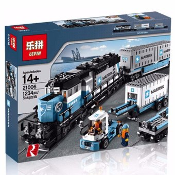Harga LEPIN 21006 TRAIN Maerks Container Train (1234 pcs) Building Blocks Set