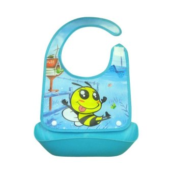 Baby Cartoon Print Saliva Towel Pinny Waterproof Self Feeding Bibs (Blue) - intl Price Philippines