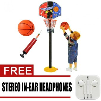 Super SPOT Set Basketball Kids Toddler Baby Indoor Adjustable Basketball Hoop Toy Set Stand Ball Pump 9602 with free Stereo In-Ear Headphone (White) Price Philippines