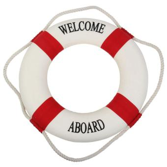 leegoal Navy Nautical Welcome Aboard Decorative Cloth Life Ring Buoy Room Decor, White And Red - intl Price Philippines