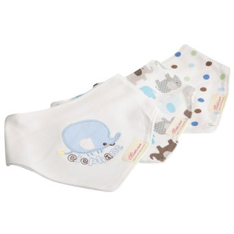 Babies Bibs Set 3pcs Cute Practical Cotton Triangular BLUE ELEPHANT Price Philippines