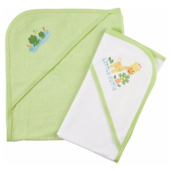 Harga Gerber Terry Hooded Towels - Pack of 2 (Little Cute Giraffe And Frog)