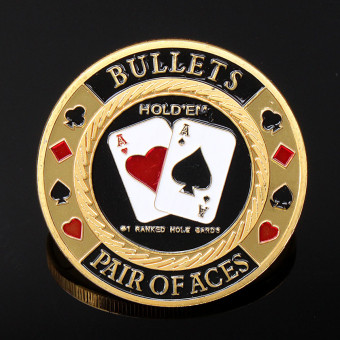 Gold Pair Of ACES Poker Guard Card Protector Coin Chip Gold Plated W Case - intl Price Philippines
