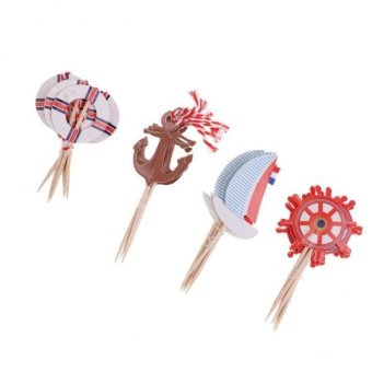 MagiDeal 24 Pieces Nautical Style Paper Cupcake Picks Cake Topper Party Cake Decor - intl Price Philippines