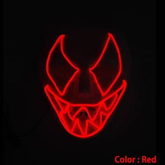 Harga Frightening Luminous EL Wire Led Mask Halloween Light Up Cosplay Mask Costume Masks for Halloween (Red)