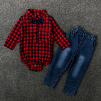 Infant Baby Boys Red Plaid Long Sleeve Romper Tops+Jeans Pants Clothing Sets Outfits for 0-24M - intl - 3