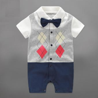 Infant Newborn Baby Boys Rompers Summer Geometric Style Gentleman Bow One-piece Tie Boy Suits - intl Price Philippines