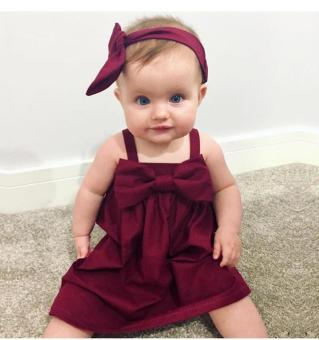Infant Toddlers Baby Girls Summer Bowknot Slip Dress Cotton Clothes - intl