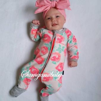 ins baby girls rose romper long-sleeved New zipper design for0-24months