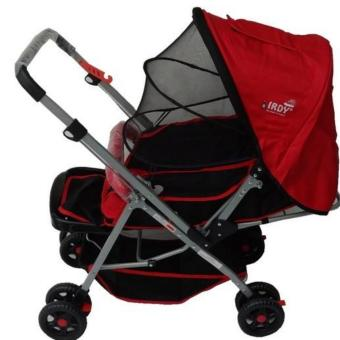IRDY 829A 3- ways stroller w/ 8 wheels reversible handle w/mosquito net (red)