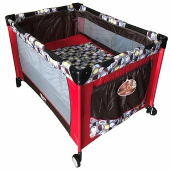 Irdy Baby Crib Playpen with Mosquito Net (P508) (Red/Brown)