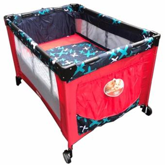 IRDY P508 Baby Crib Playpen w/ Mosquito Net (Red) - 2