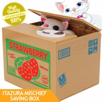 Itazura Mischief Saving Box Cat Coin Bank (Strawberries)