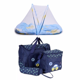 J&J 4-in-1 MUMMY Multi-Functional Baby Diaper Nappy Bag - DarkBlue with Folding Newborn Baby Bed with Pillow Mat Net (Blue)